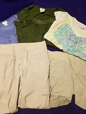 Lot of 5 maternity clothes shirts capris shorts size small