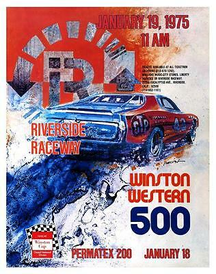 Car Racing *LARGE POSTER* Winston Western 500 Plymouth January 1975 Riverside Ca