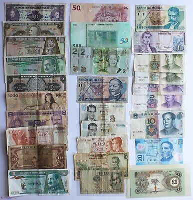 Worldwide Large Lot Of 70 Circulated Bank Notes.