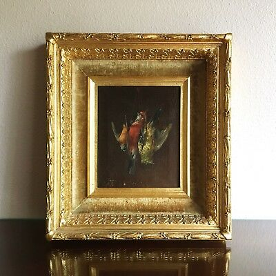 Antique French Trompe L'Oeil Fruits of the Hunt Bird Painting in Louis XVI Frame