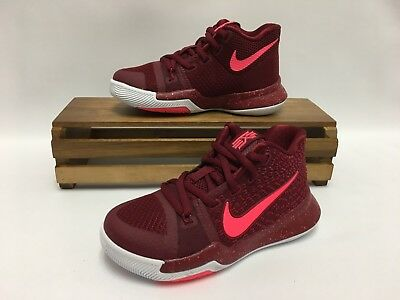 """Nike Kyrie 3 (PS) """"Warning"""" Red Hot Punch White 869985-681 Preschool NEW"""