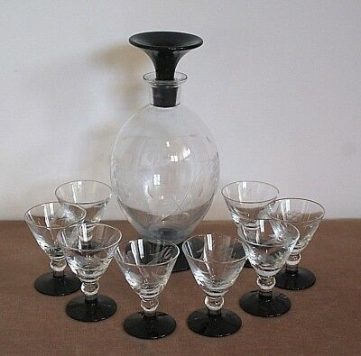 Art Deco Decanter and 8 glasses
