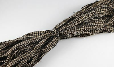 100% Wool Up-cycled #8 Strips - Qty 50 - Tan Black Houndstooth
