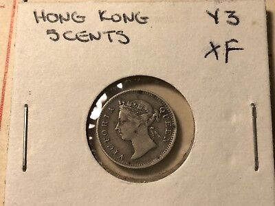1901 Hongkong 5 cents silver Victoria world foreign coin great XF condition