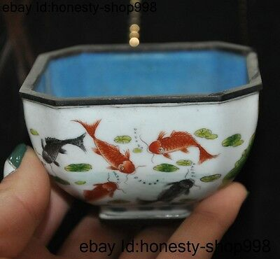 Old chinese palace dynasty bronze Cloisonne goldfish lotus statue cup small bowl