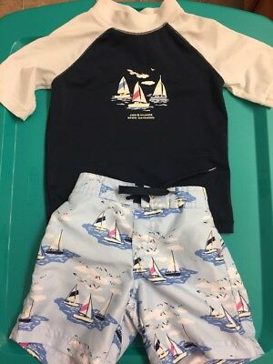 Janie And Jack Blue Sailboat Swim Top And Short Set Size 12-18 Months