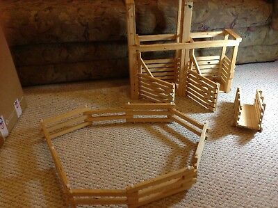 Wooden Horse Corral Fence, Stable/Pen  And Cart Toy