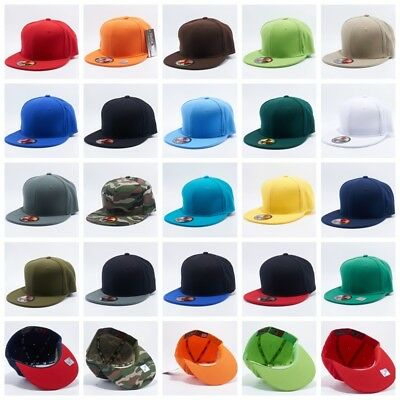 Plain Fitted Flat Bill Cap Visor Baseball Basic New Blank Solid Hat Sport Colors