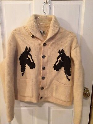 Vintage Horses Wool Cardigan - Small - BR Westerns Canada Made - Cream Brown