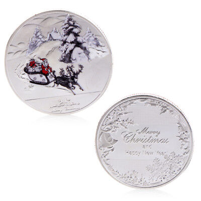 New Merry Christmas Santa Claus Deer Sleigh Commemorative Coins Silver Souvenirs