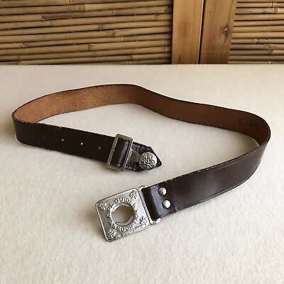 Vintage 50s GIRL GUIDES Australia Be Prepared SILVER Buckle BROWN Leather BELT.