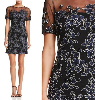 faf7c8201a7 NWT TADASHI SHOJI Embroidered Illusion Dress Starry Night Black Size ...
