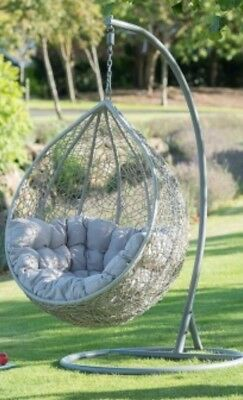 Indoor/Outdoor Rattan Style Hanging Swinging Egg Chair With Cushions  NEW!