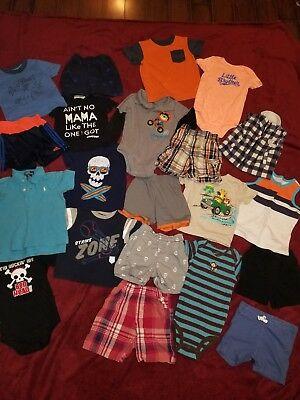 BOYS Clothes 18m, 2T, & 3T Lot of 21! Shirts, shorts, & one pieces GUC