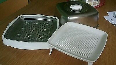 Unusual Metal and Plastic Food Warmer, Pan to Table, Keeps contents warm longer