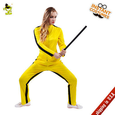 Adult Women Kill Bill Costume Carnival Party Yellow China Kungfu Fancy Dress