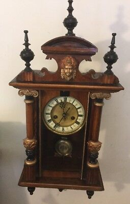 Antique / Vintage Viennese Wall Clock With Pendulum / Spares Or Repairs. NICE