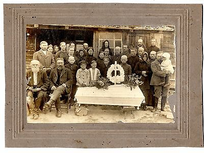 early 1900 WHITE CROSS COFFIN POST MORTEM ORIGINAL PHOTO ON CARDBOARD  EUROPEAN