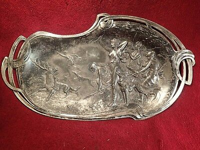 early 1900 ANTIQUE ART NOUVEAU DIANA HUNTIG PARTY SILVERED TRAY WALL HANGER
