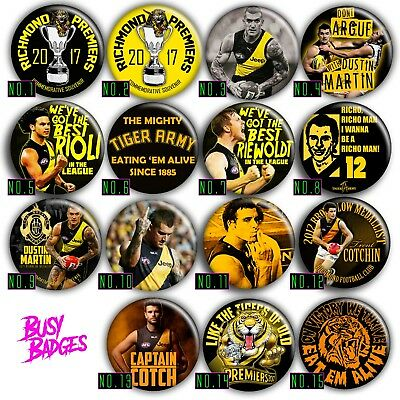 RICHMOND TIGERS 57mm Badges - DUSTIN MARTIN TRENT COTCHIN GRAND FINAL 2017 2019