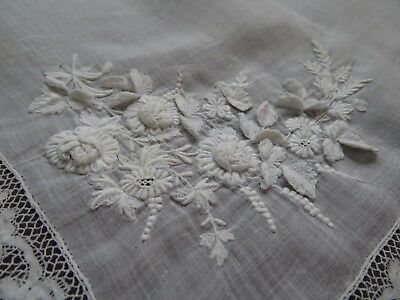 Finest FRENCH WHITEWORK EMBROIDERY w Detached Appliques,  3D Hankie