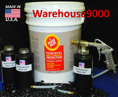 5 GALLON PAIL FLUID FILM NAS & PRO Spray Gun Kit w/ 200 rust plugs 5 Pair Gloves