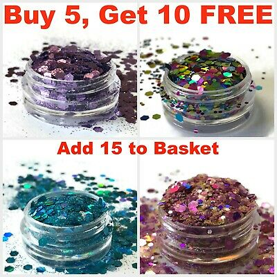 Chunky Mixed Glitter Pot Mix Nail Face Eye Body Festival Art Fabric Holographic