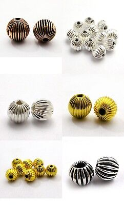 Sterling Silver Plated 18K Gold Plated Solid Copper Bead 6/8/10/12/14Mm B 540