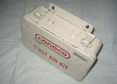 Vintage Conoco Wall Mount Metal Box First Aid Kit with Contents