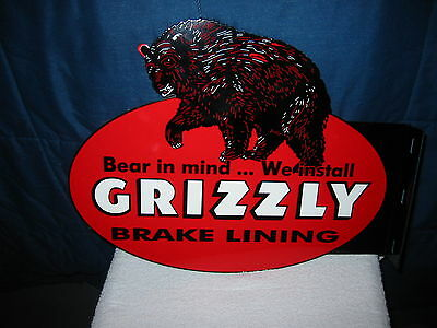 Vintage Style  Grizzly Brake Service Die Cut Double Sided Sign Black Bear