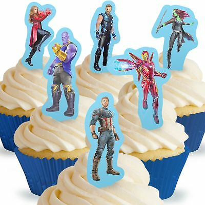 Cakeshop 24 x PRE-CUT Avengers Infinity War Stand Up Edible Cake Toppers