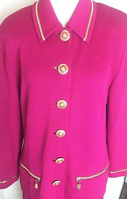 St. John Collection By Marie Gray Womens Suit Pink Couture Gold Knit Size 12