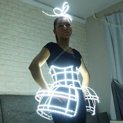 Sexy dress cage corset and headdress. LED light up costume for any performance