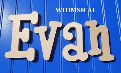 """Unpainted Wood Wall Letters 6"""" size Home Decor Kids Room Baby Nursery Whimsical"""