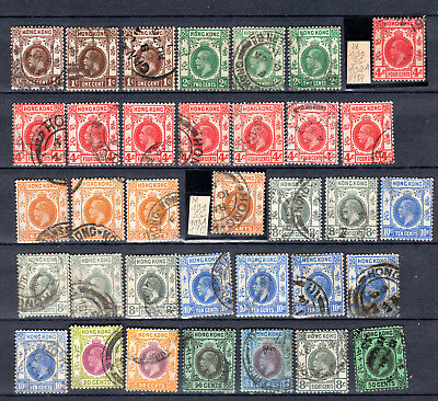 Hong Kong China 1912 Kgv Selection Of Used Stamps Pmk Interest