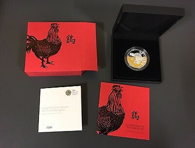 2017 Royal Mint British Lunar Rooster £2 Two Pound Silver Proof 1oz Coin Box Coa