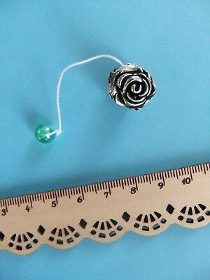 *RARE* Vintage? Mini ROSE SILVER Thread Winder Knotting Tatting Shuttle *RARE*