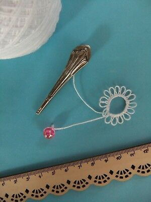 "Old? French Ornate ""Art Nouveau"" Tatting Shuttle Silver Plated Frivolite *RARE*"
