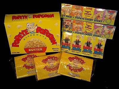 Popeye Candy Sticks With Cartoon Collection Card & Popeye Popcorn