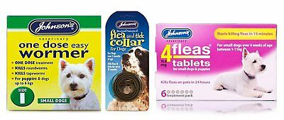 Pet Connection's Johnsons Flea, Tick & Worming Kit Size 1: Small Dog - 0-6kg