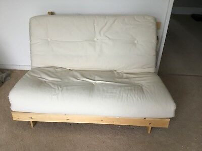 Double 4ft Futon Wooden Sofa Bed With Mattress Pale Cream