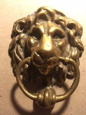 Vintage heavy Brass LIONS HEAD DOOR KNOCKER