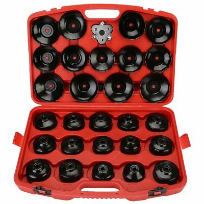 Auto Cup Type Oil Filter Cap Wrench Socket Removal Car Garag Tool Set case 30Pcs