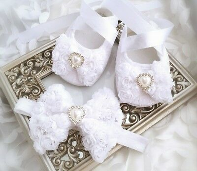 Baby Girl White Christening Baptism Shoes Shabby Flowers Heart Blink Headband