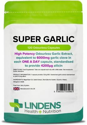 Super Garlic 6000mg 120 Capsules Blood pressure Cholesterol heart Lindens UK