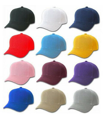 Plain Baseball Cap 6 Panel Adult Size Cotton Adjustable Velcro Strap Hat Novelty