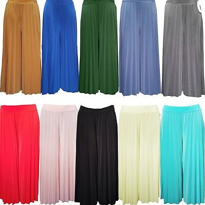 Womens Italian High Waisted Palazzo Crinkle Pleated Trouser Wide Leg Baggy Pants