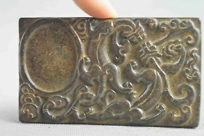 China Collectable Handwork Old Jade Carve Mighty Lizard Dance Exorcism Ink-Stone