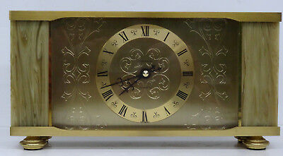 Edle elektromechanische Dugena Uhr Kaminuhr Messing Onyx Tischuhr - West Germany