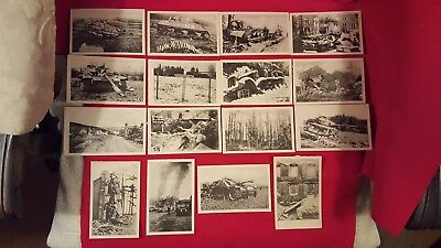 WWII Lot of 16 Original Bastogne, Belgium Battle of the Bulge Postcards